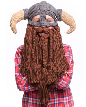 Beanie 'Battle Viking' Kinder Bartmütze / Grau Braun - Beardo